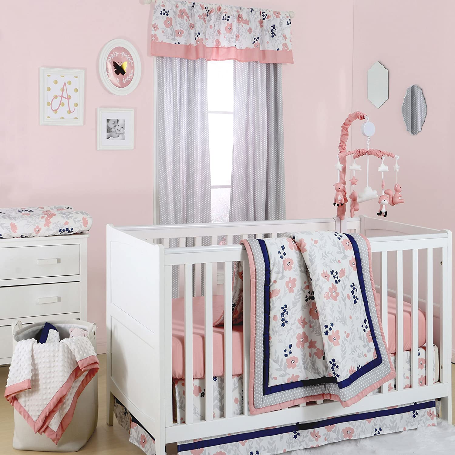 Coral Pink, Grey and Navy Floral 4 Piece Crib Bedding Set by The Peanut Shell by The Peanut Shell   B01HQR6UZI