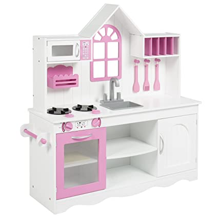 Best Choice Products Kids Wood Kitchen Toy Toddler Pretend Play Set Solid  Wood Construction White