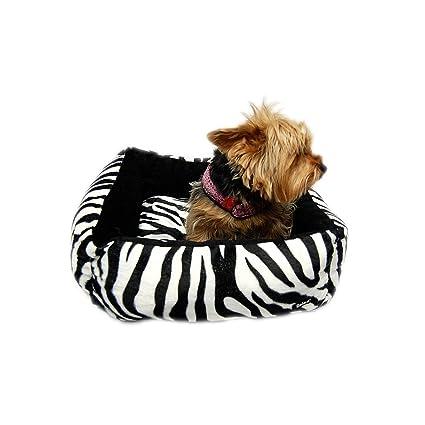 Anima - Cama con estampado de cebra, color negro, con almohada extraíble, 40