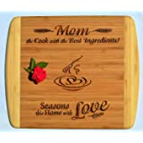 MOM / MOTHER GIFT ~ Engraved 2-Tone Bamboo Cutting Board w/ Free Stand ~ 2-Sided Design ~ Engraved Side Designed For Décor ~ Reverse Side For Usage ~ Mom Birthday Mothers day Gift Christmas Gift