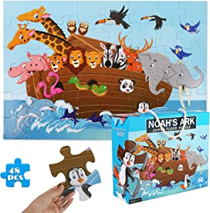 LOVESTOWN Floor Puzzles for Kids, 48 PCS Jumbo Puzzles 3 x 2 Ft. Animal Floor Puzzle Giant Jigsaw Puzzle Educational Toy