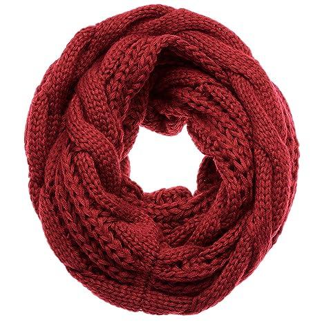 f7718d755ccc Atmoko Écharpe Cercle en Tricot à Crochet Twist Foulard Tricoté Hiver  Automne Printemps à la Mode