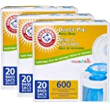 Munchkin Arm & Hammer Diaper Pail Refill Bags, 20 Count (Pack of 3)