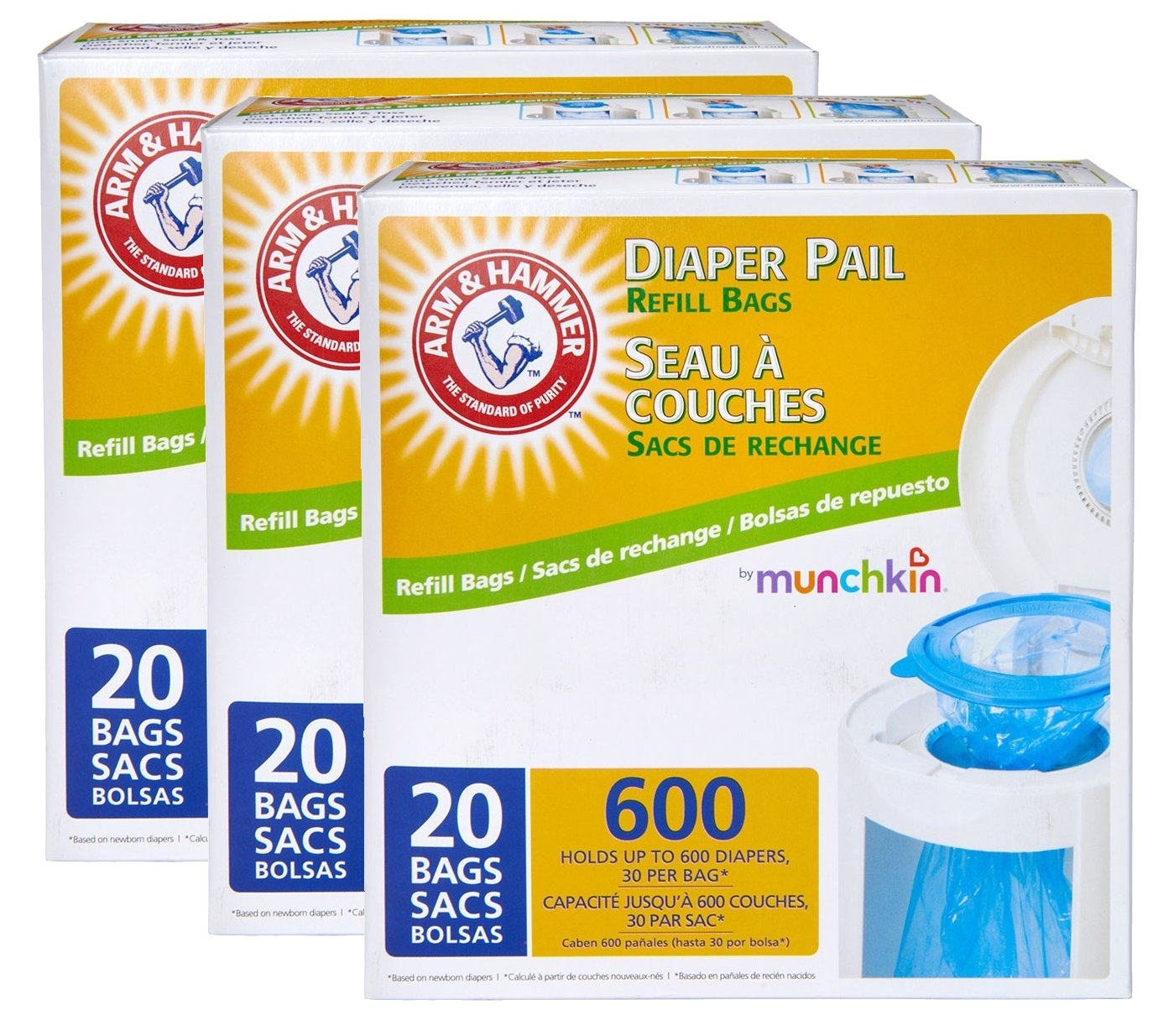 Munchkin Arm & Hammer Diaper Pail Refill Bags, 60 Count