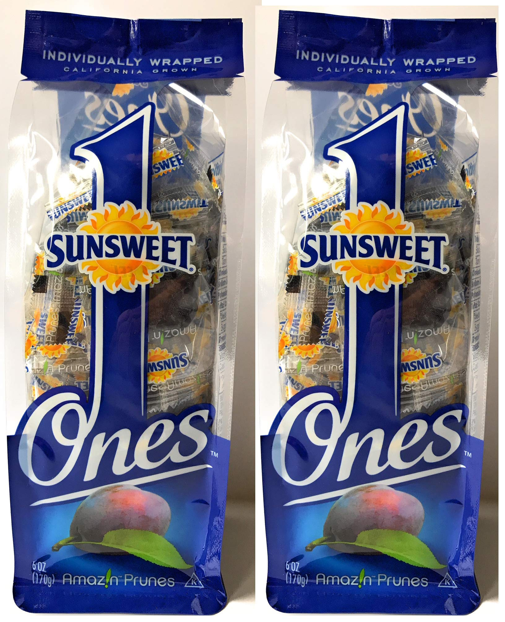 Sunsweet Ones California Individually Wrapped Pitted Prunes - 2 Packages (each package is 6 ounces) PLUS a Prune Recipe - GREAT VALUE!