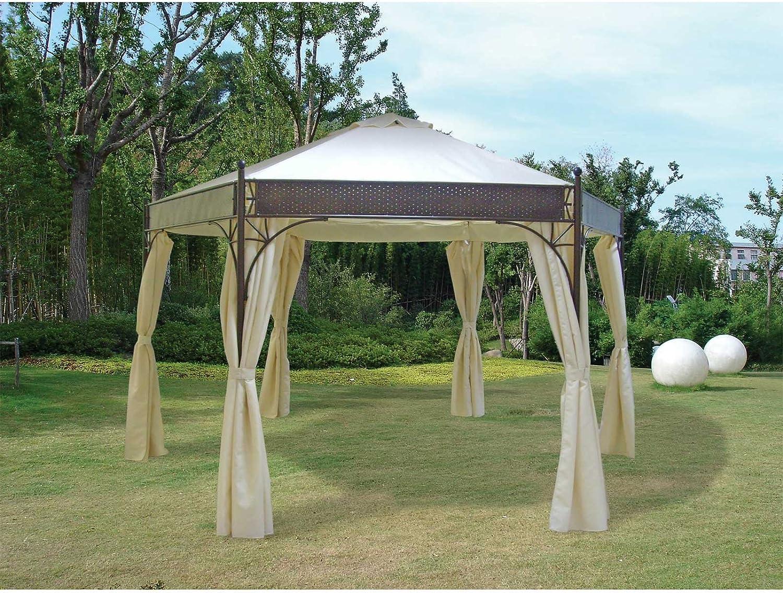 Pabellón Lagos de 6 rectangular, acero negro, lona de PVC Revestimiento crudo Muebles de Jardín Jardín Pabellón para techo Pabellón Accesorios: Amazon.es: Jardín