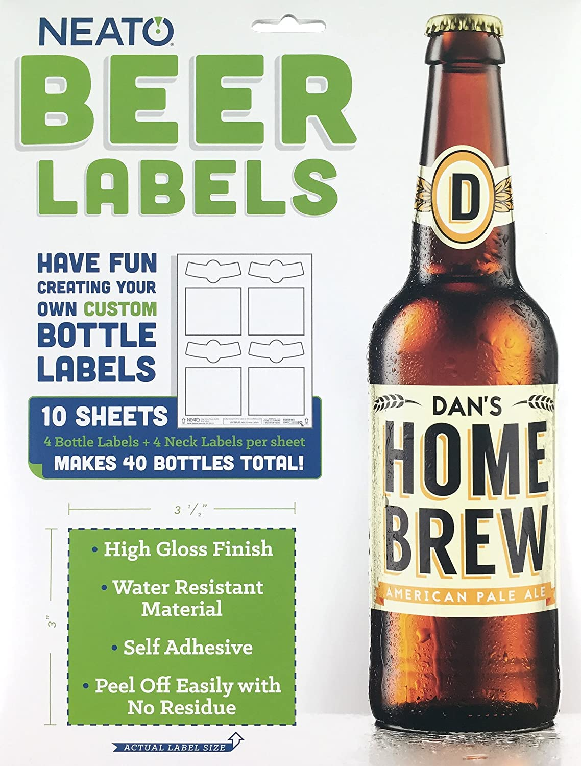 Neato Blank Beer Bottle Labels - 10 Sheets - 40 Total Labels - Water Resistant, Vinyl, Tear Free Labels for Inkjet Printers - Strong Adhesive - Includes Online Design Beer Label Software
