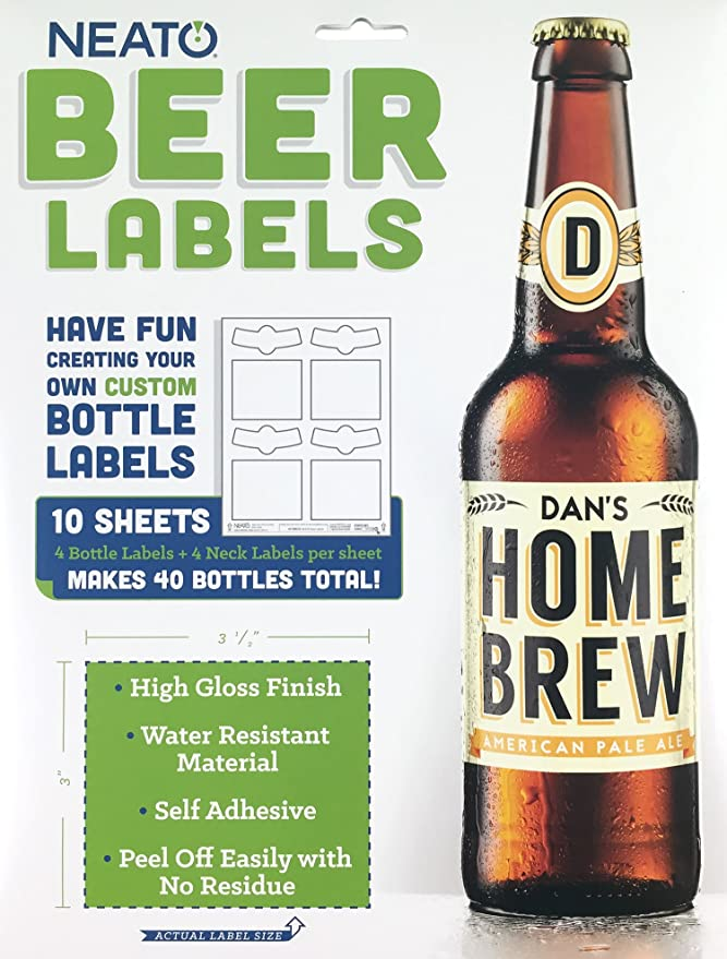 Amazon Com Neato Blank Beer Bottle Labels 10 Sheets 40 Total Labels Water Resistant Vinyl Tear Free Labels For Inkjet Printers Strong Adhesive Includes Online Design Beer Label Software Kitchen Dining