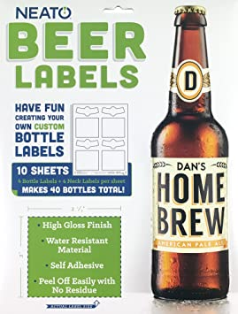 Neato Blank Beer Bottle Labels - 40 Pack - Water Resistant