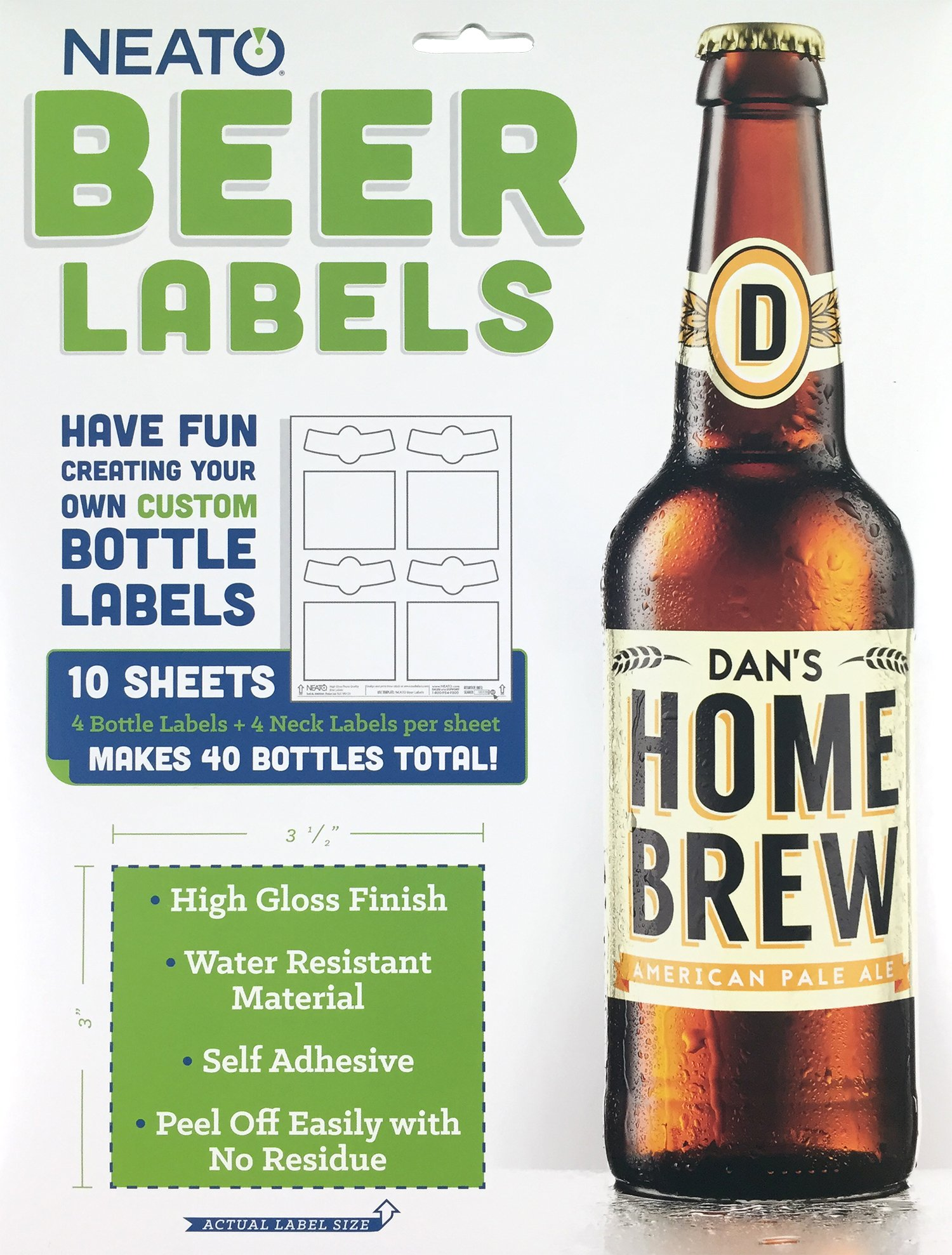 Neato Blank Beer Bottle Labels - 40 pack - Water Resistant, Vinyl, For InkJet Printers by Neato