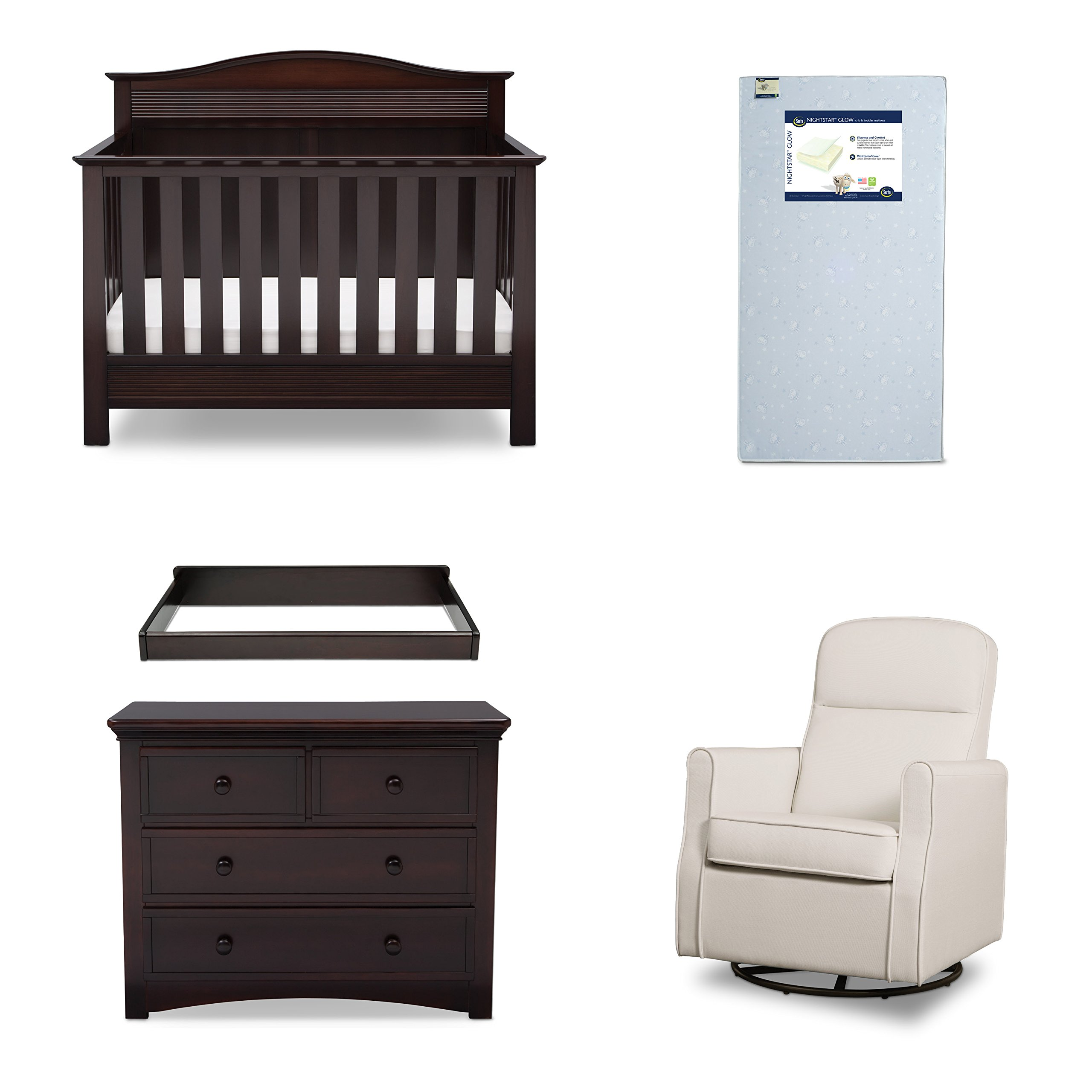 Serta Barrett 5-Piece Nursery Furniture Set (Serta Convertible Crib, 4-Drawer Dresser, Changing Top, Serta Crib Mattress, Glider), Dark Chocolate