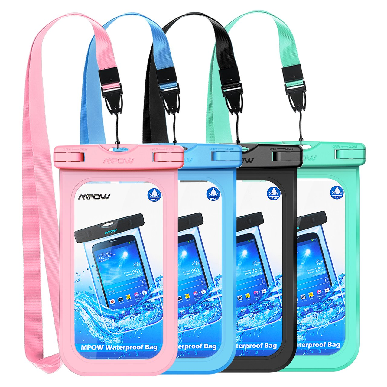 Mpow Waterproof Case, Universal IPX8 Waterproof Phone Pouch Underwater Phone Case Bag for iPhone X/8/8P/7/7P, Samsung Galaxy S9/S9P/S8/Note 8, Google Pixel/HTC up to 6.0'' (Pink Blue Black Green)