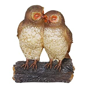 "Exhart Solar Owls Statue – Owl Couple on Tree Stump, Solar Resin Statue - Owls Home Decor with Solar-Powered Outdoor Garden Lights – Night Owl Décor 4"" L x 7"" W x 9"" H"