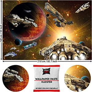 GREAT ART Photo Wallpaper Galaxy Adventure Decoration 210x140 cm / 82.7x55in – Spaceship Shuttle Mission Planet Aliens Outer Space Universe Mural – 5 Pieces Includes Paste