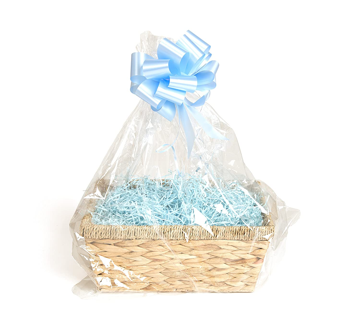 Your Gift Basket - Natural Straw Basket & DIY Hamper Kit with Blue Shred, Blue Bow and Clear Gift Wrap