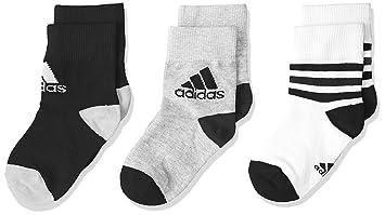 Adidas LK Ankle S 3PP Calcetines, Unisex niños, (Blanco/Negro/Brgrin