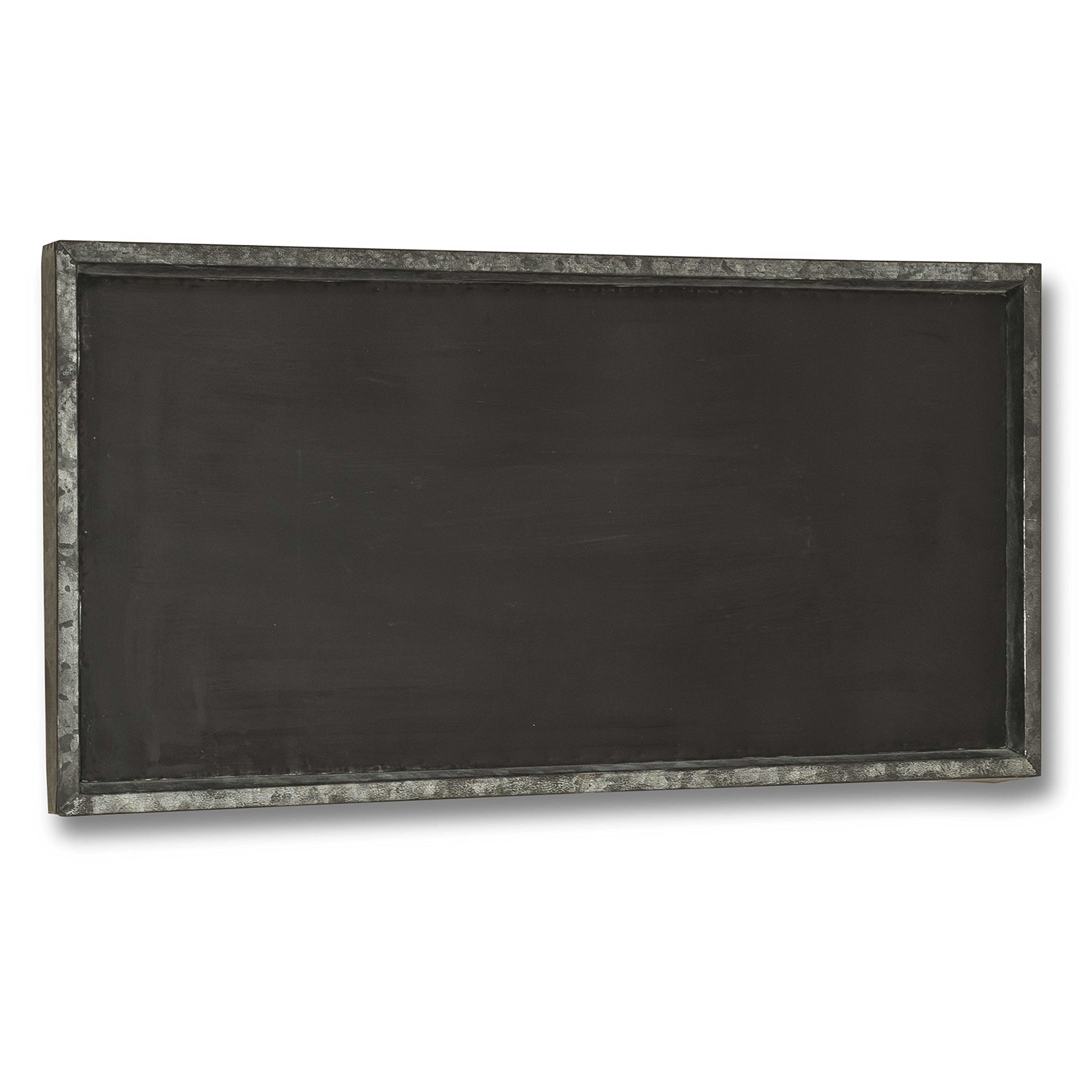 Rustic Galvanized Zinc Framed Magnetic Wall Chalkboard, Large Size Over 2 1/2 Feet, (15 x 29 1/2 Inches) Vertical or Horizontal Hanging Options, Great for Kitchen, Weddings, Restaurant Menus, and More by WHW Whole House Worlds