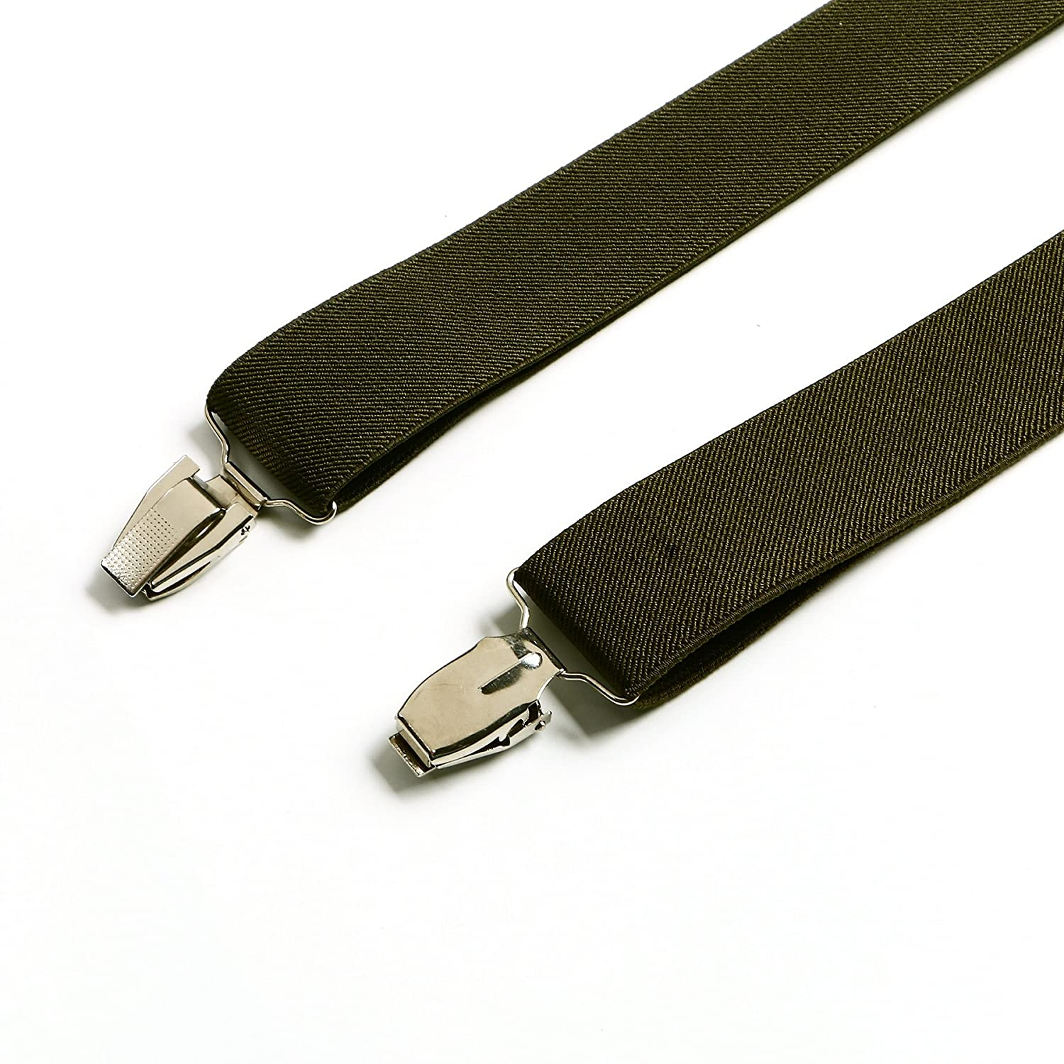 Enwis mens Suspenders Braces Polyester Elastic Clip-on Solid OliveDrab