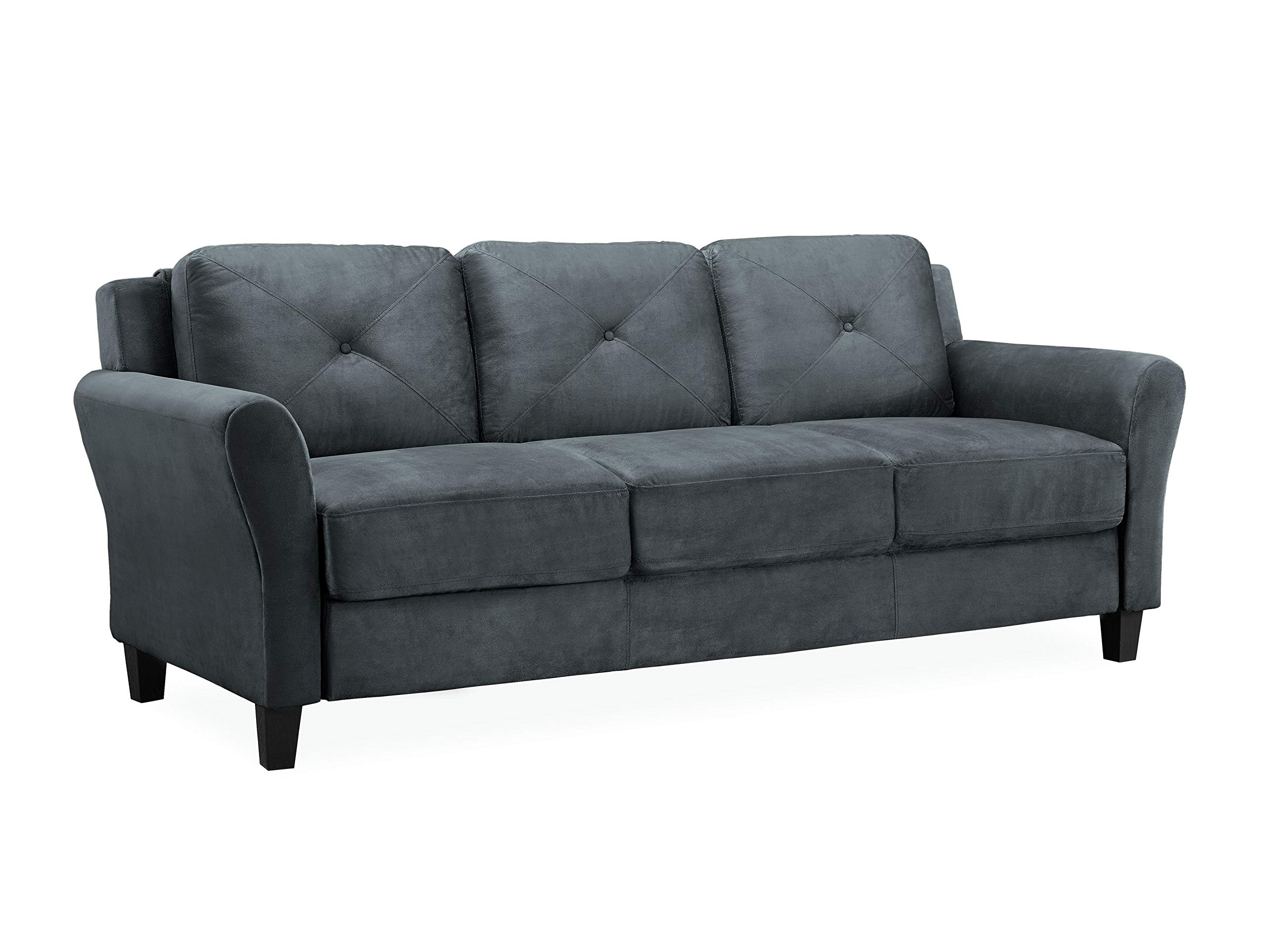Lifestyle Solutions KD Rolled-Arm Collection Grayson Micro-Fabric Sofa 80.3'' x 32'' x 32.68'' Dark Gray