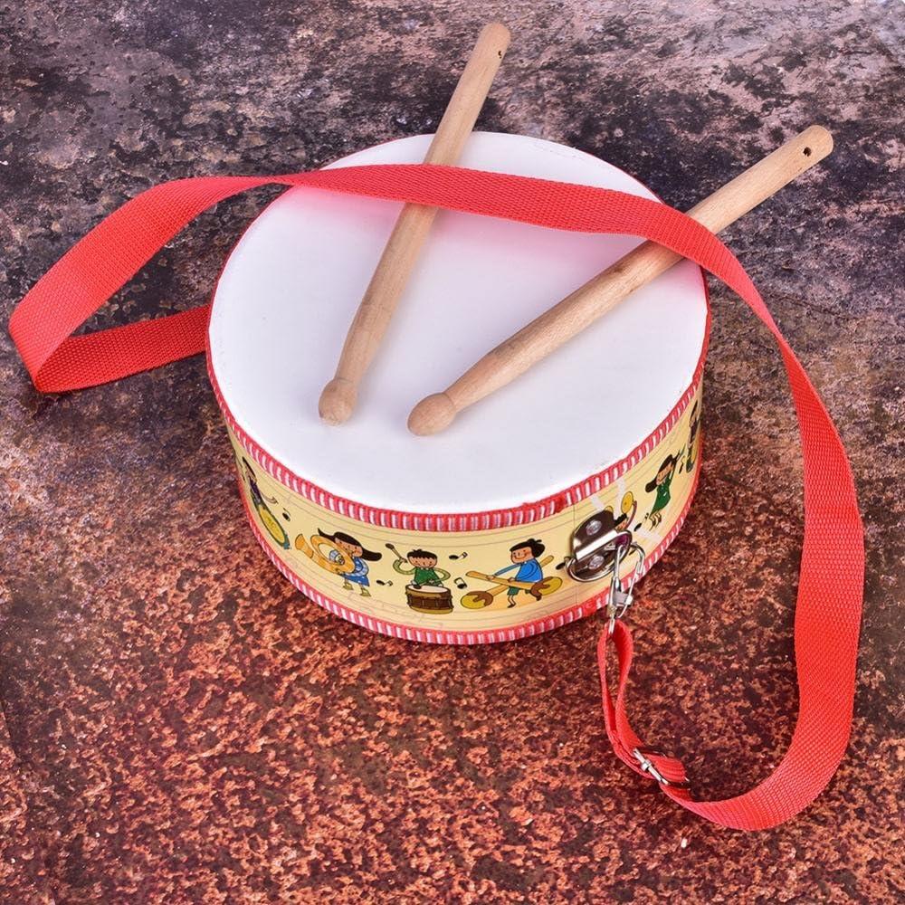 Mini Cadeau de Jouet denfant dinstrument de Percussion Musicale en Bois Tambour de Poche Drfeify Jouet Musical de Tambour