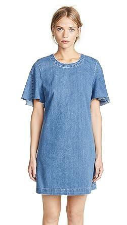 4a5c5da5ae0 7 For All Mankind Women's Popover Denim Dress, Bright Blue Jay, X-Small