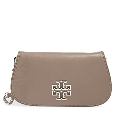 7ce262e85c1 Tory Burch Leather Britten Clutch Chain Crossbody French Gray  Handbags   Amazon.com