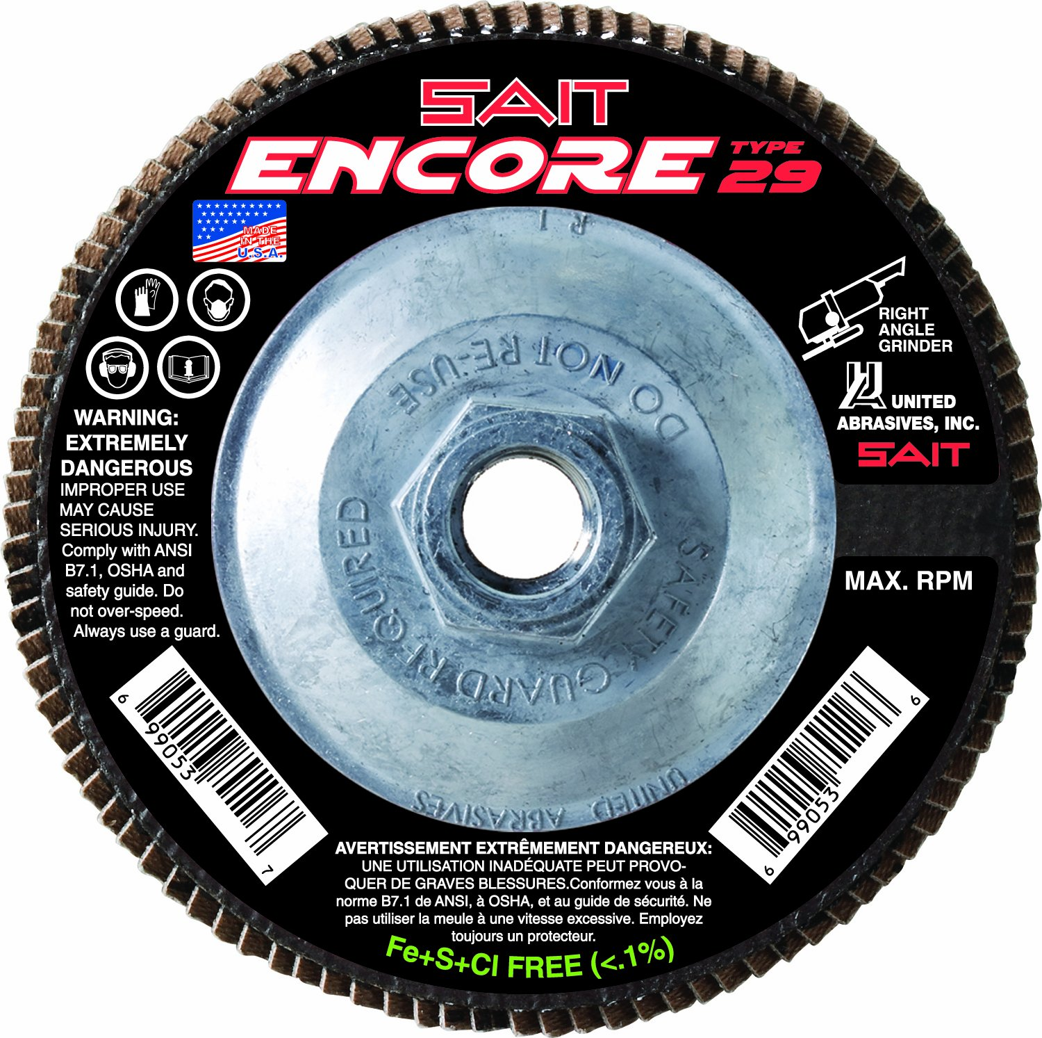 United Abrasives- SAIT 79118 Encore Type 29 Flap Disc, 4-1/2 X 5/8-11 Z 60X, 10 Pack