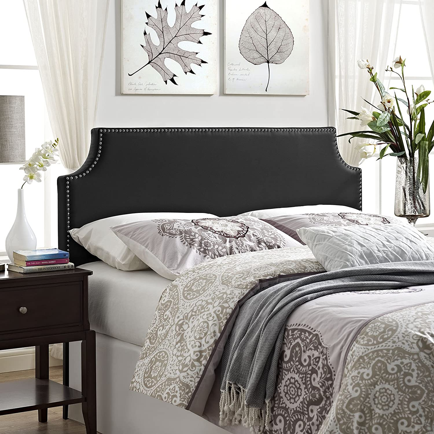Modway Laura Faux Leather Upholstered Queen Size Headboard with Cut-Out Edges and Nailhead Trim in Black