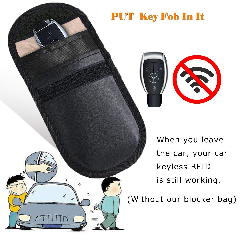 2 X Car Key Signal Blocker Case, Faraday Bag for Car Keys Keyless Entry Fob  Guard RFID Signal Blocking Pouch Bag, keyless car key signal blocker