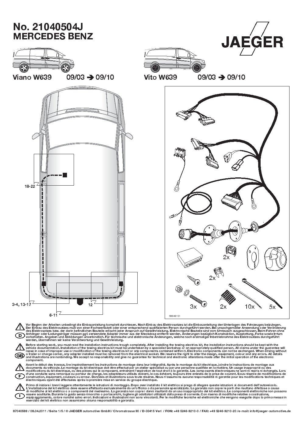13 poliger spezifischer original Jaeger E-Satz für Mercedes-Benz C-Klasse W203