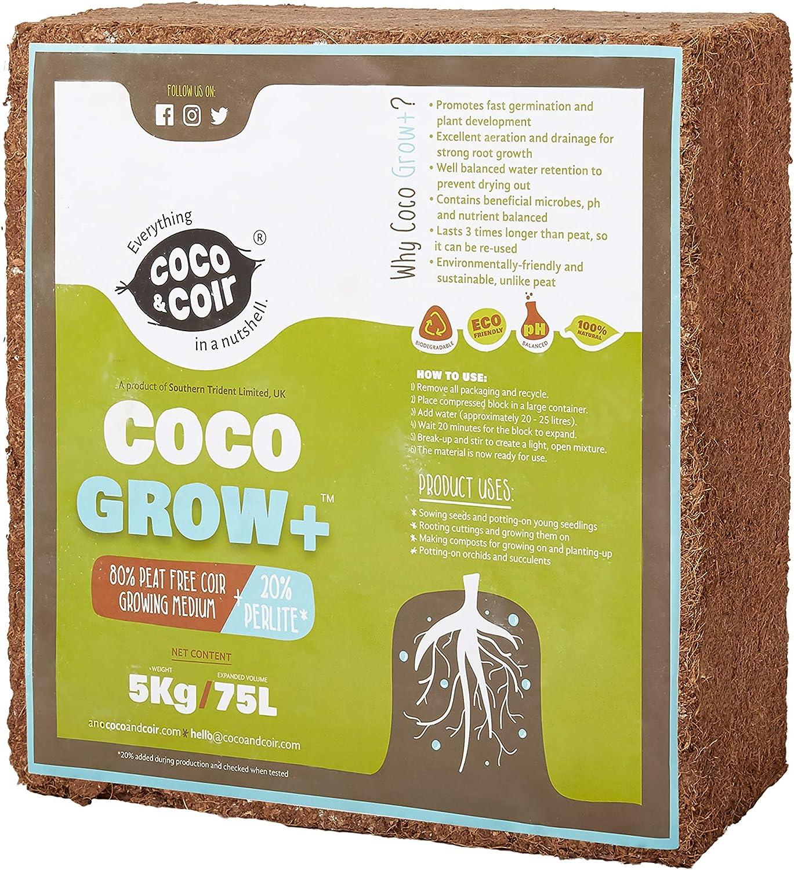Coco Coir con Perlite - 5KG (70L) | Coir Perlite Mix | 100% Natural Growing Media | Planting Coco Soil | Compresor de Coco | Coconut Coir Bricks | 80% Coir – 20% Perlite