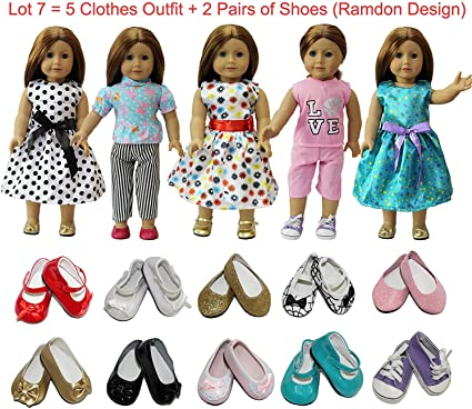 2 Shoes Fit For Lot 7=5 Daily Costumes Gown Clothes Zita Element Doll Clothes