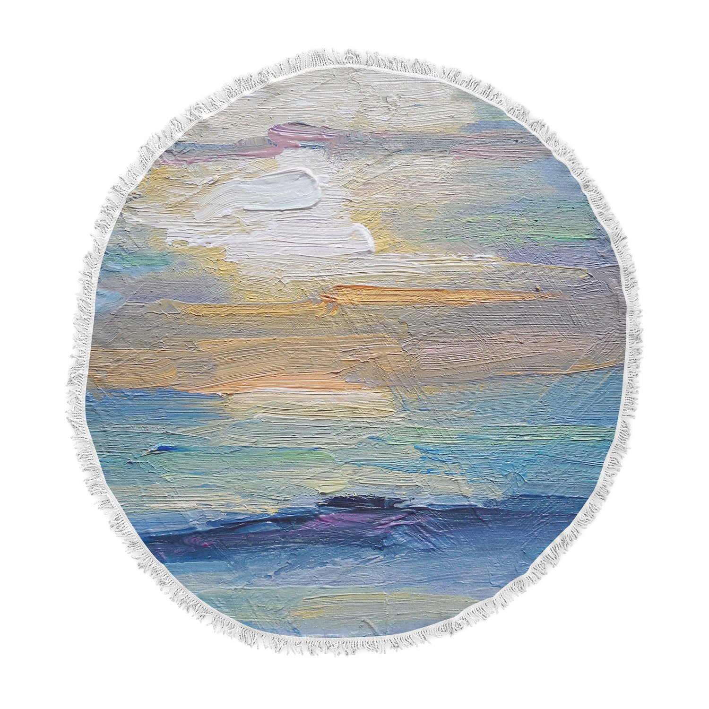 KESS InHouse Carol Schiff Ocean Sunset Blue Coastal Round Beach Towel Blanket
