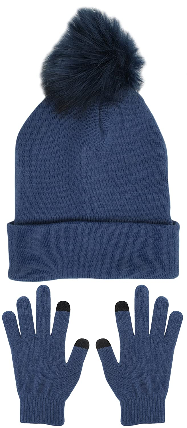 Foxbury Ladies Bobble Hat & Touch Screen Gloves Set