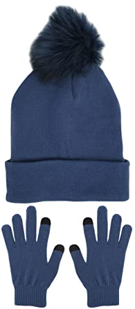 Foxbury - Ensemble bonnet, écharpe et gants - Femme - bleu - Taille unique f1380a271b8