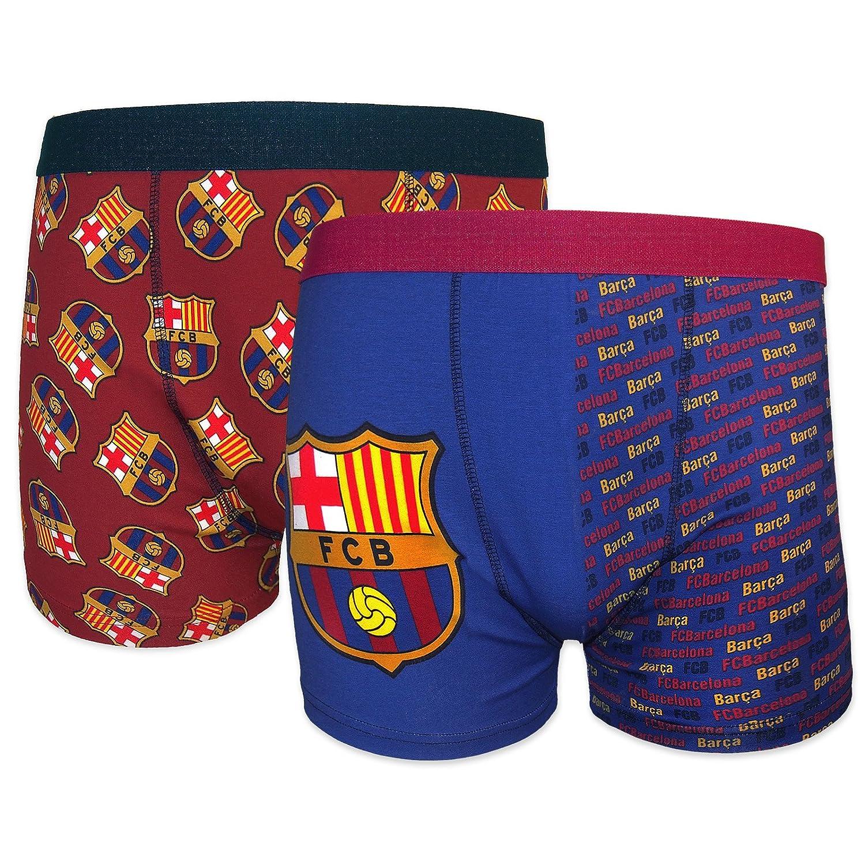 FC Barcelona - Par de 2 calzoncillos oficiales de estilo bóxer - Para hombre - Con el escudo del club: Amazon.es: Ropa y accesorios