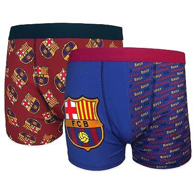 a4d04e9403040 FC Barcelona - Par de 2 calzoncillos oficiales de estilo bóxer - Para  hombre - Con el escudo del club - Rojo   azul - XL  Amazon.es  Ropa y  accesorios