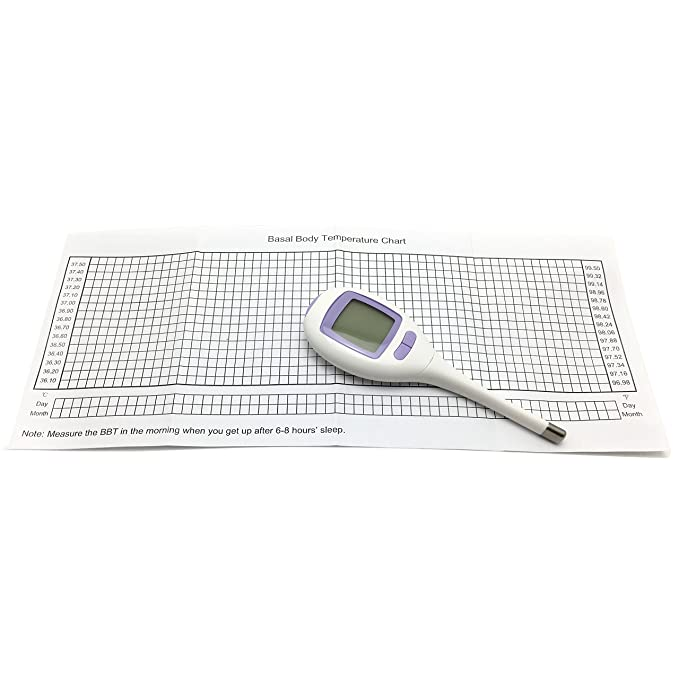 Rosa termómetro basal digital para el test de ovulación, 60 memoria para la pista de ovulación de día, 0,05 precisión, retroiluminación azul, ...