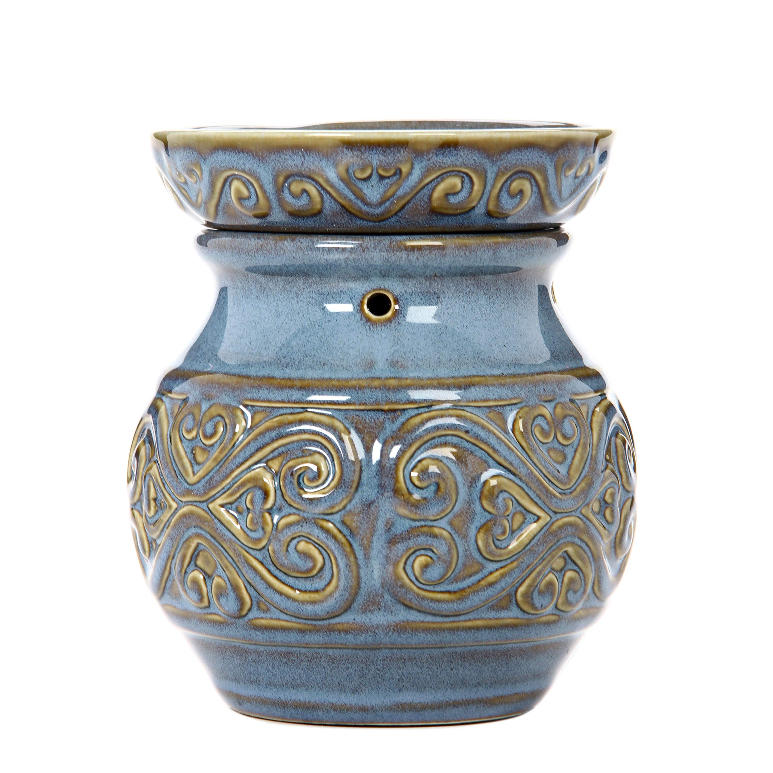 Hosley 6 High Blue Ceramic Electric Warmer. Ideal Gift for Wedding Spa Aromatherapy. Use Brand Wax Melts Cubes Essential Oils and Fragrance Oils. O4 by Hosley