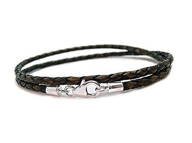 Carla Marie Jewellery Mens Ladies Braided Leather Bracelet Sterling