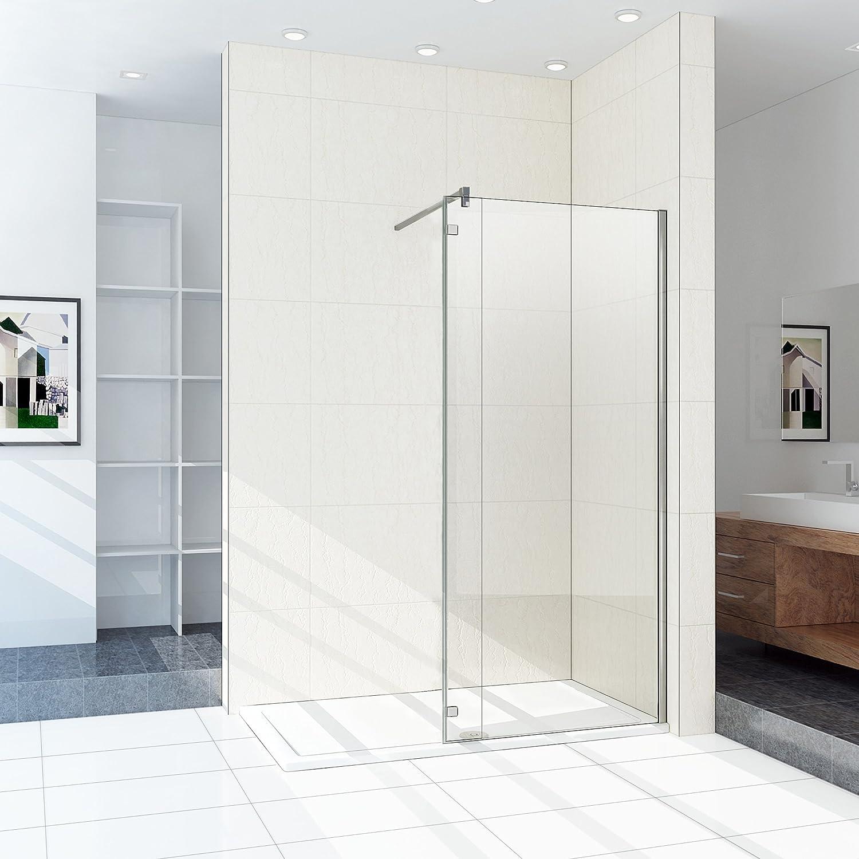 200 x 100 cm - Mampara de ducha con pared con bisagras de 40 cm ...