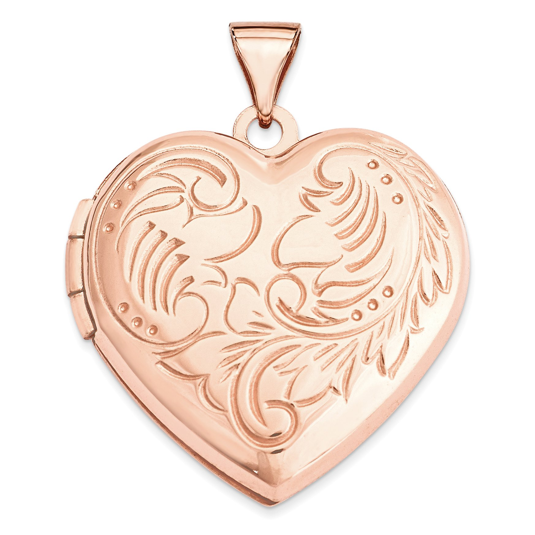 ICE CARATS 14k Rose Gold 21mm Domed Heart Photo Pendant Charm Locket Chain Necklace That Holds Pictures Fine Jewelry Gift Set For Women Heart