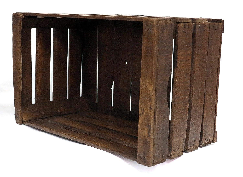 caja de madera de haya restaurada vintage nogal oscuro // recomendada para muebles, estantes, librerías//Cajas de frutas viejas // vintage // DIY ...