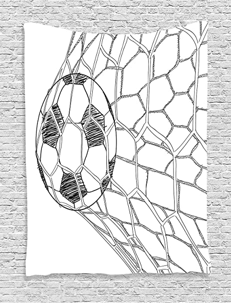 Soefipok Sport Dekor Wandteppich Fussball Im Netz Goaly