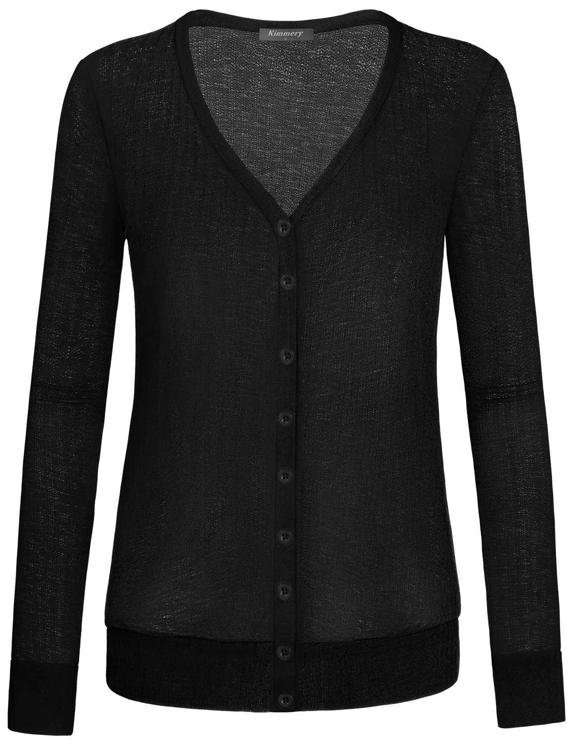 Button Down Cardigans for Women, Kimmery Henley Shirts Basic Long sleeve Classic V Neckline Fashion Fall Clothes for Juniors for Work Everyday Casual Loose Fitting Top Trendy Simple Style Black Medium
