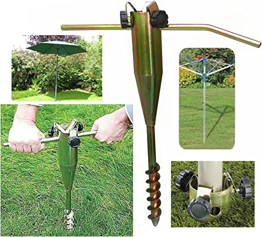 Pluscom Tendederos Safekom Heavy Duty Metal Estaca Base de Tornillo para tendedero Giratorio, sombrilla de jardín, comederos de pájaros, Gazebo, Banderas - envío Gratuito: Amazon.es: Jardín