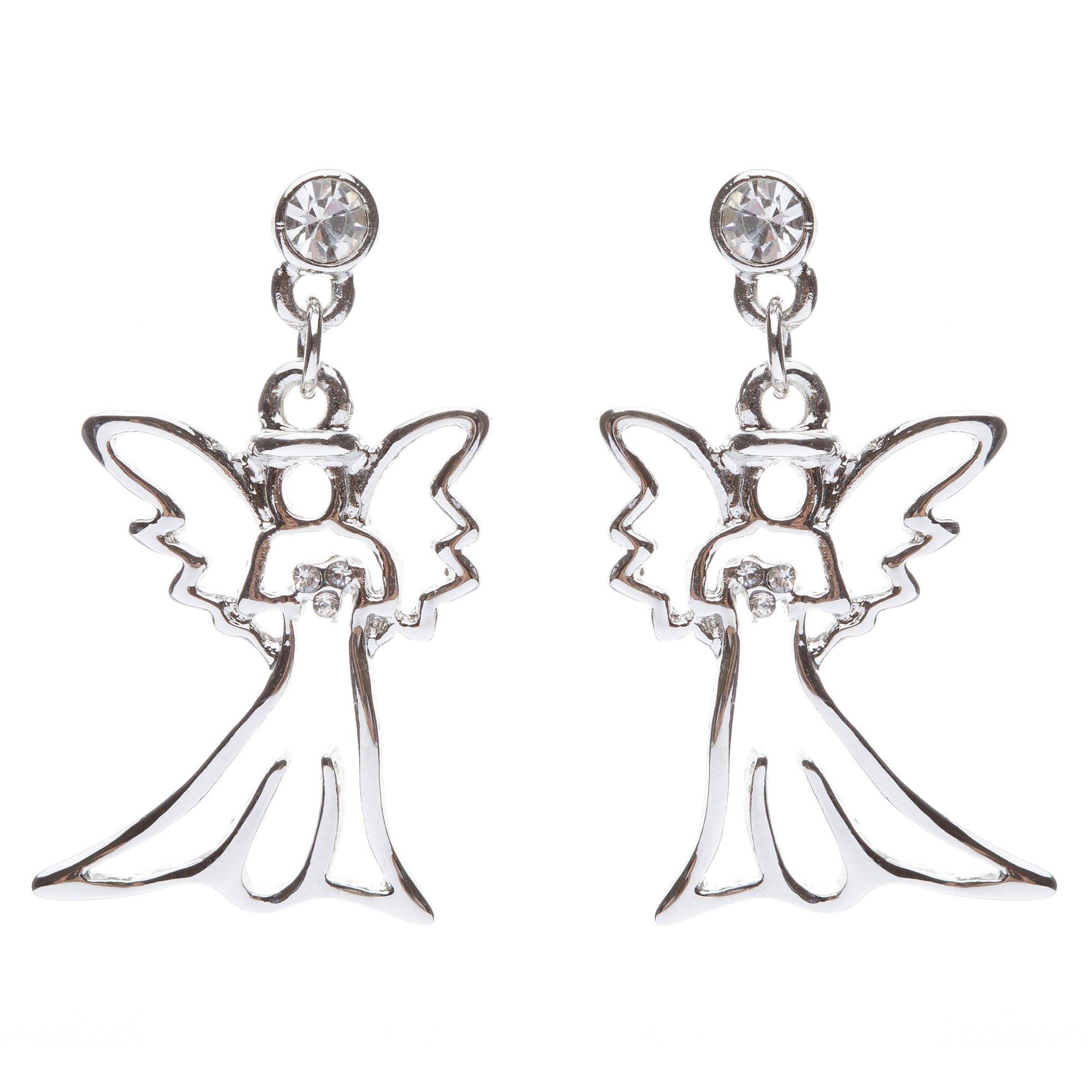 ACCESSORIESFOREVER Christmas Jewelry Crystal Rhinestone Beautiful Angel Charm Dangle Earrings E646