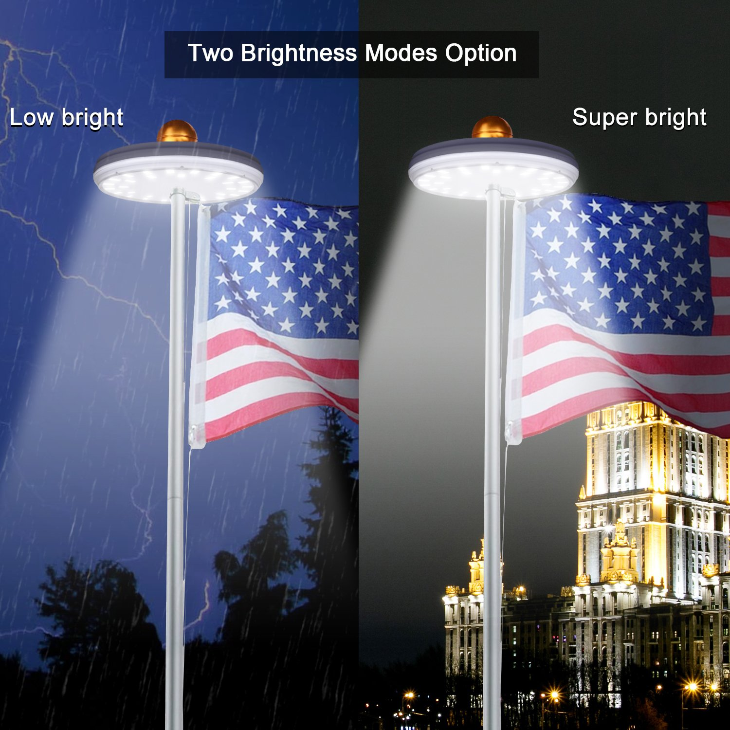 32 led solar flag pole light feelle waterproof super bright led 32 led solar flag pole light feelle waterproof super bright led solar power flagpole light downlight for most 15 to 25 ft flag pole auto onoff night light arubaitofo Image collections