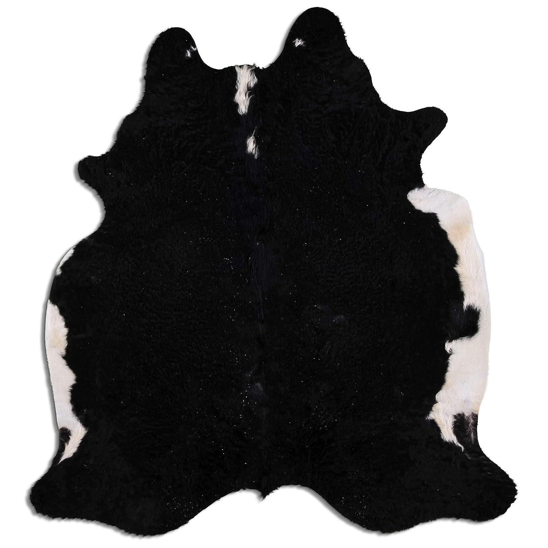 Livorio Premium Kuhfell Teppich - L215 x B204 cm - schwarz weiß - einmaliges Naturprodukt aus Südamerika