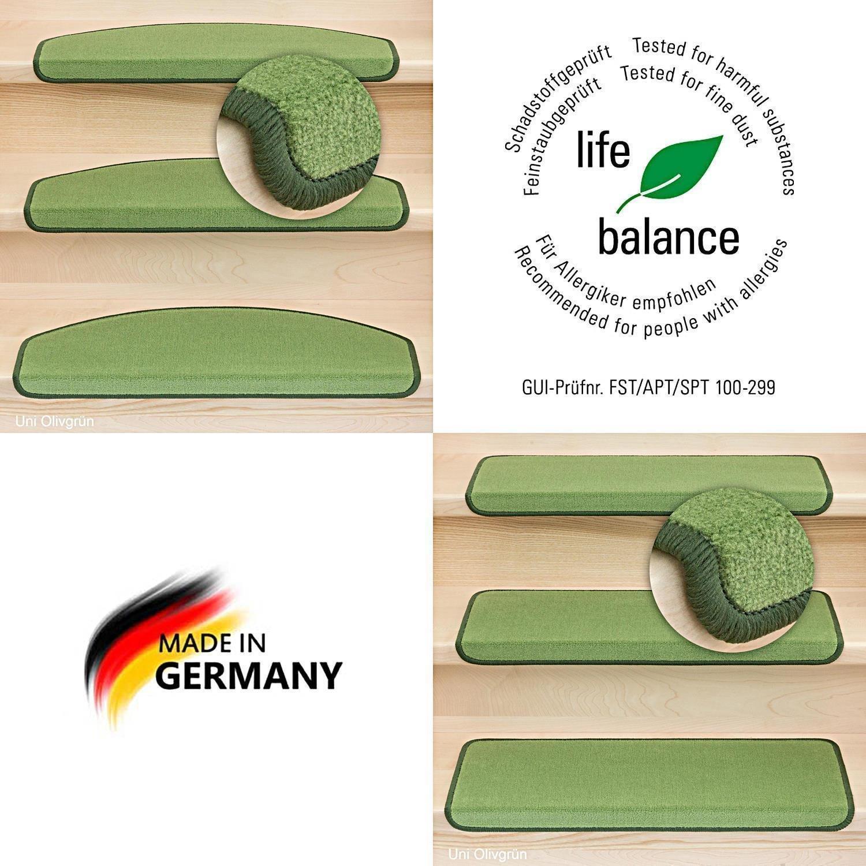 Kettelservice-Metzker Stufenmatten Vorwerk Uni Einzeln und Sparset's Olivegrün 28 Stück Halbrund